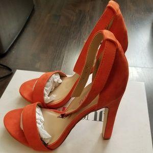 JustFab Kati Womens Vibrant Heeled Shoes | Orange